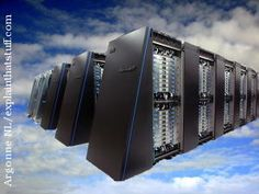 IBM Blue Gene supercomputer floating in the clouds: a generic illustration of cloud computing.