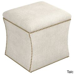 Skyline Furniture Linen Custom Storage Ottoman (Linen Talc), Beige Off-White (Fabric)
