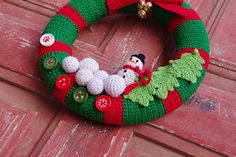 Christmas Wreath  Crochet Christmas Front Door Wreath от Mening