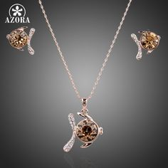AZORA Rose Gold Color Round Shape Cubic Zirconia Stone Fish Pendant Necklace and Earrings Set TG0047 #Affiliate