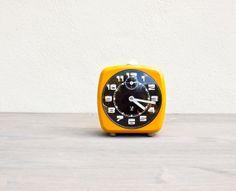Vintage French Jaz Alarm Clock orange 70's by FrenchBaguette