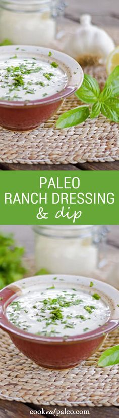 This is my favorite quick and easy paleo ranch dressing or dip. It's completely dairy-free and only takes a minute or two to stir together.