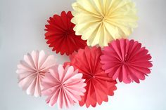Valentines Day party decorations - 6 pomwheels ... pick your colors.. $12.00, via Etsy.