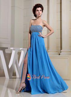 Strapless Aqua Blue Chiffon Long Front Slit Empire Waist Prom Dresses