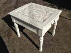 Treasured Rubbish: Tin ceiling tile End Table                                                                                                                                                                                 More