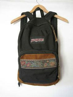 Vintage 1990's Jansport Backpack Floral Patch Suede Leather Bottom Black RARE