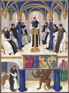 En la Sala Capitular, San Bernardo y sus monjes. obra de Jean Fouquet , Museo Condé, Chantilly.