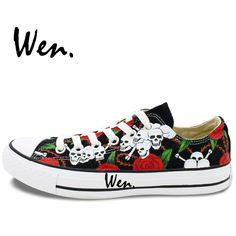 buy popular ca9ac 61baf US  63.75 15% OFF Aliexpress.com   Buy Wen Original Hand Painted Shoes  Design Custom Roses Skulls Black Low Top Canvas Sneakers Men Women s  Christmas ...