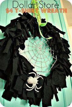Make a Glam Halloween T-shirt Wreath