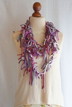 Pink Violet White Art Mess Fringe Necklace Shreded Scarf Upcycled Woman's Clothing Funky Tattered Eco Friendly Style Upcycled Clothing