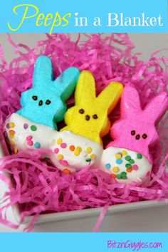 Peeps in a Blanket - a treat that screams spring but still reminds me I need to hang onto my heavy comforter for a couple more months! So cute and simple! {BitznGiggles.com}