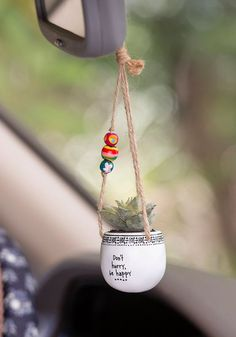 Search results for: 'car stuff mirrorcharms dont hurry be happy hanging succulent' Natural Life Hanging Succulents, Faux Succulents, Hanging Plants, House Plants Decor, Plant Decor, Diy Clay, Clay Crafts, Car Interior Decor, Cute Car Accessories