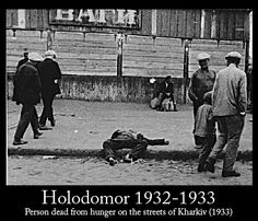 Victim of the Ukrainian famine/genocide dead in the middle of a Kharkiv street with people casually passing him by 1933
