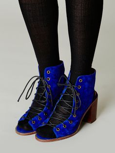 Minimal Lace Up Heel | Distressed leather open-toe lace-up heel. Open at back of heel, too. Stacked heel. Rubber sole.