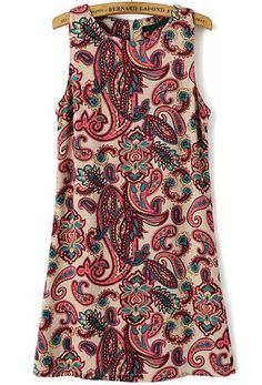 Red Sleeveless Cashews Print Slim Dress 12.00