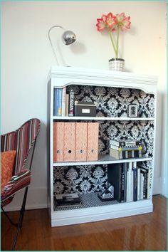 DIY Wallpapered Bookshelf from Paper Design Blog