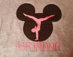 DANCE Gymnastics Cheerleader Silhouette Handstand Mouse Shirt Ballet Sports Personalized Applique, Embroidery by fabuellaboutique. Explore more products on http://fabuellaboutique.etsy.com