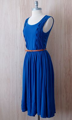 Sail From Work to Weekend Midi Dress.  This vintage inspired midi dress in a gorgeous cobalt blue color is super soft and flowy with perfectly placed crochet lace panels, then finished with a complimenting belt.