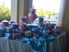 Menifee Lakes pink and blue candy buffet Picture by Sweet Creations by Judy