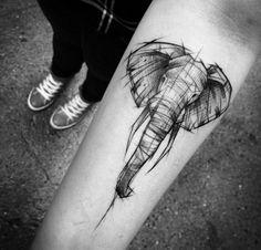 This Sketch Style Elephant Tattoo by Inez Janiak