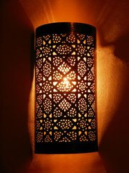 Moroccan Darken Metal Wall Light,Sconce And Its Openwork Pattern. Moroccan Ceiling Light, Moroccan Lighting, Moroccan Art, Moroccan Lanterns, Morrocan Lamps, Wall Sconce Lighting, Wall Sconces, Bedroom Sconces, Master Bedroom