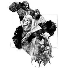 Pen ink artwork by artist Sergio Toppi