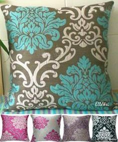 Teal and Grey Stripe Decorative Designer Pillow Cover Accent Throw