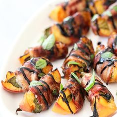 Bacon Wrapped Grilled Peaches With Balsamic Glaze - The 50 Best Grilling Recipes For Summer Cooking Healthy Recipes, Bacon Recipes, Grilling Recipes, Mexican Food Recipes, Cooking Recipes, Ethnic Recipes, Atkins Recipes, Cake Recipes, Peach Recipes Savory