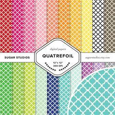 Quatrefoil 20 Piece Digital Scrapbook Paper Mega by sugarstudios $3.99