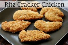 Ritz cracker chicken, this was so easy to make and tasted so good, it didn't even need any spices!