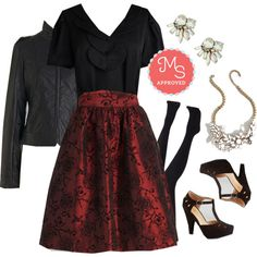 Invitation Intrigue Skirt by modcloth on Polyvore featuring Jack BB Dakota, outfit, modcloth, separates and formalwear