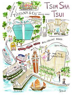 Sujean Rim... Great Artist!  Two of my favorites... Tiffany's & TST, Hong Kong!! Travel Maps, Asia Travel, Travel Posters, Watercolor Invitations, Watercolor Sketch, Hong Kong Art, Visual Map, China Map, China 2017