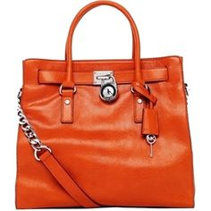Pre-owned Michael Kors Michael Hamilton Leather Burnt Orange Tote Bag ($135) ❤ liked on Polyvore