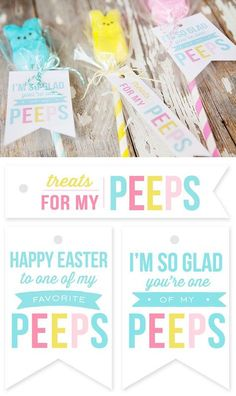 Quick and easy Peeps Pops with free printable gift tags. These make cute Easter gifts or Easter Basket Stuffers!