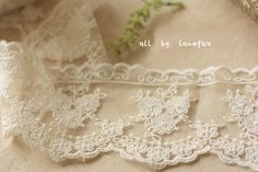ivory Lace Trim Embroidered tulle lace retro Florals by LaceFun, $3.80