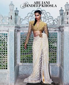 Abu Jani Sandeep Khosla White #Saree With Gold Sequin #Blouse.