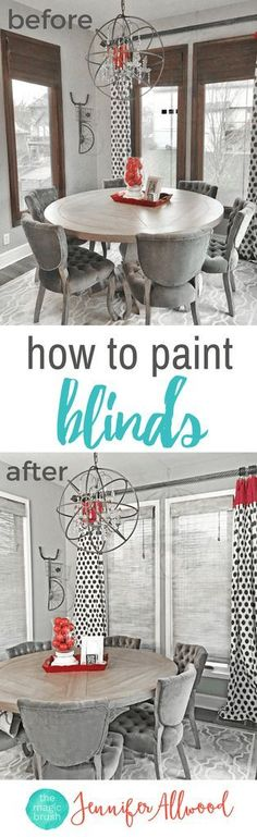 Painted Blinds & Painting Wood Blinds | Magic Brush | How to paint blinds from dark and drab to neutral using chalk-type paints | Home Decorating Ideas | Easy Home Updates with Paint | Breakfast Room Window Treatments