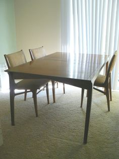 Similar to nonas table and chairs great blog how to restore and keep integrity of furniture. Drexel dining room set   http://littlegreennotebook.blogspot.com/2008/10/restoring-vintage-furniture.html?m=1