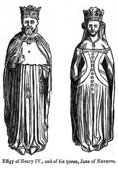 Drawings of the effigies of Henry IV and his queen, Joan of Navarre.