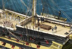 The astonishing detail includes Nelson and Hardy on the poop deck and shows the famous ship off Sardinia at exactly 3.45pm on January 19 1805