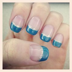 Colored French tip nails with a sparkle line under. Loved doing this style this past summer.