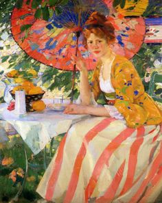Karl Albert Buehr, Red-Headed Girl with Parasol (1912)