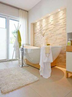 Carrelage salle de bain et pierre de parement beige