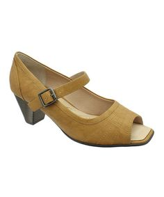 Love this Tan Marci Peep-Toe Mary Jane by LE COMFORT on #zulily! #zulilyfinds