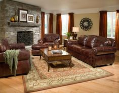 Living Room Paint Ideas with Brown Leather Furniture Ideas