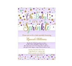 Purple and Mint Baby Sprinkle Invitation Girl, Purple Mint and Gold Baby Girl Sprinkle, 281 Printable Invitation Baby Sprinkle Invitations, 30th Birthday Invitations, Photo Invitations, Digital Invitations, Printable Invitations, Baby Girl Sprinkle, Color Card, Printing Services, Photo Cards