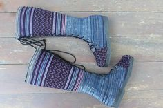 Ethnic Hmong Women's Boots Purple Embroidery by SiameseDreamDesign, $74.00