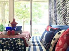 Summer Home Tour: It's a Shore Thing. Nothing quite says Summer like red, white and blue. An American flag inspired blanket seconds for a patriotic table cloth. Find these all-American accessories at HomeGoods this Summer! Sponsored Post