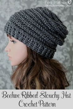 Crochet Pattern - An elegant crochet slouchy hat pattern that features a unique ribbed design. Suitable for babies, kids, boys, girls, women, and men. By Posh Patterns.