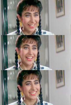 Karisma Kapoor in Andaz Apna Apna Andaz Apna Apna, Bollywood Makeup, Karisma Kapoor, Madhuri Dixit, Katrina Kaif, Beautiful Actresses, Celebrities, Fashion, Moda